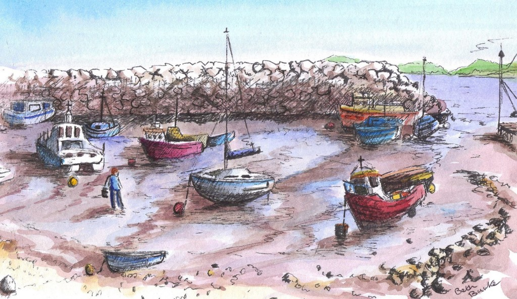 Rhos on Sea harbour at low water